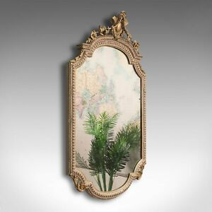 Antique Gesso Wall Mirror, Italian, Giltwood, Glass, Shield, Victorian, C.1900