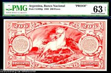 """ARGENTINA PS1098p 1888 """"STALLION HORSE"""" 200 PESOS PMG 63! """"ONLY 1 KNOWN! POP TOP"""