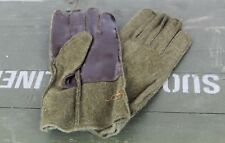 French Gloves Officer M43 WW2 US Type Army Khaki Wool Brown Leather Unworn VTG