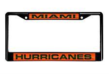 Miami Hurricanes Laser Cut Black Chrome Metal License Plate Frame