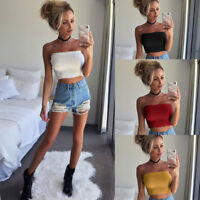 Women Off Shoulder Elastic Tube Tops Blouse Strapless Bandeau Crop Tops Shirt UK
