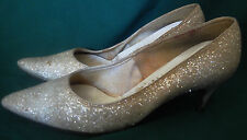 Vintage 60s Cream Colored Sparkly Glitter Shoes High Heels DiVona Size 8