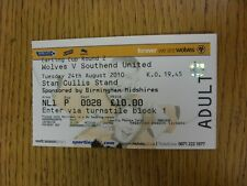 24/08/2010 BIGLIETTO: Wolverhampton Wanderers V Southend United [FOOTBALL LEAGUE C