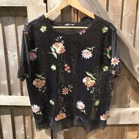 Zara Black Mesh Sequin Floral Embroidered Top Size L / UK 14 VGC