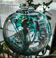 "Hanging Glass Ball 4"" Diameter ""Tropical Tree"" Witch Ball (1) GB5"