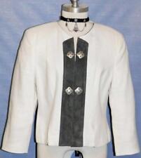 WHITE LINEN & LEATHER German Dress Suit Jacket/40/6-8-S