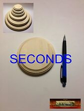 "M00187 MOREZMORE 1 Unfinished SECONDS 4"" Round Wood Base Wooden Plaque Stand T20"