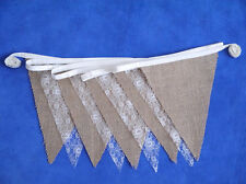 50ft (15m) Hessian Burlap Lace Bunting Barn Wedding Shabby Rustic Vintage Chic