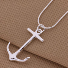 925 Sterling Silver Plated Necklace Nautical Boat Anchor Pendant Charm Jewelry