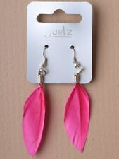 hot pink feather fish hook earrings