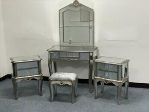 Mirrored Bedroom Dressing Table + 2  Mirror Bedside Tables Stool Vanity Venetian