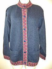 INKA TRADITIONS Baby Alpaca Womens Cardigan Sweater Hand Made Peru Navy SZ M