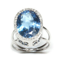 12 ctw Natural Blue Topaz & Diamond Solid 14k White Gold Big Halo Cocktail Ring