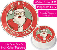 CHRISTMAS SANTA EDIBLE WAFER & ICING CAKE TOPPERS DECORATION MERRY FESTIVE PARTY
