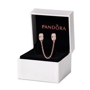 NOUVEAU Chaîne De Sécurité PANDORA Or Rose Charme Bracelet avec Sac Pochette