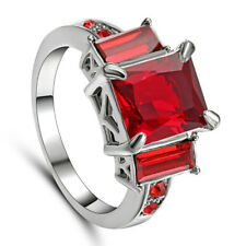 Size 8 Princess Cut Ruby Gem Engagement Ring Red Garnet 10KT white Gold Filled