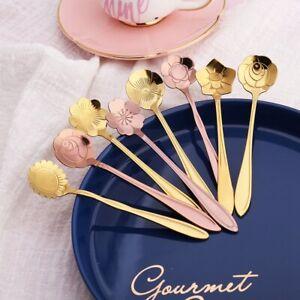 8Pcs Flower Spoon Set 304 Stainless Steel Teaspoon for Coffee Tea Mixing Sugar.