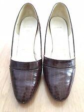 Señoras Bally Vintage Marrón Cuero Cocodrilo Tribunal Zapatos Talla 4.5