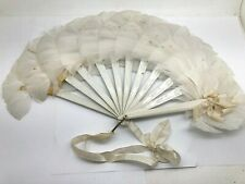 Early Bird Feather Fan With Painted Flowers on Feathers