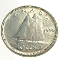 1946 Canada Ten Cents Silver Dime Canadian Circulated George VI Coin M641