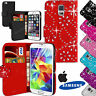 Bling Diamond Studs Leather Wallet Flip Case Cover For All Phones