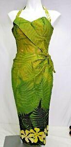 50s Alfred Shaheen sz 6 Green Fern Floral Sundress Sarong Halter Hawaiian Dress