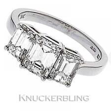 Emerald Three-Stone VS1 Fine Diamond Rings