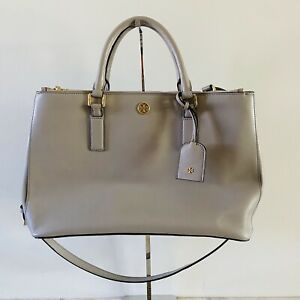 TORY BURCH Solid Gray Leather Large Satchel Bag Gold Logo
