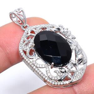 "Black Onyx & White Topaz Gemstone 925 Sterling Silver Pendant Jewelry 1.56"" M547"