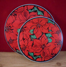 4 Piece Poinsettia Christmas Red Electric Stove Range Burner Covers Round
