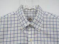 Peter Millar Nanoluxe Mens Blue Check Long Sleeve Button Front Shirt Medium