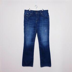 Rock & Republic Henlee Mens W36 L34 Dark Blue Distressed Bootcut Denim Jeans