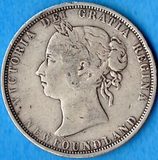 Canada Newfoundland 1882 H 50 Cents Fifty Cents Silver Coin - Very Good