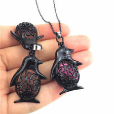 H125 Black Pearl Beads Cage Cold Animal Penguin Magnetic Stainless Necklace 18""