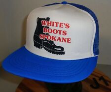 VINTAGE WHITE'S BOOT SPOKANE WASHINGTON TRUCKER HAT BLUE/WHITE SNAPBACK EUC J1