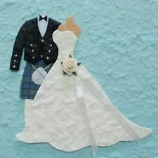 PK 2 GREEN TARTEN BRIDE AND GROOM  TOPPER EMBELLISHMENTS FOR CARDS & CRAFTS