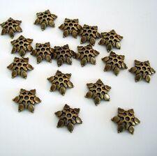 50-Antiqued Bronze Flower Bead Cap 12mm.