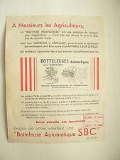 Prospectus Botteleuse  Batteuse  Sté Bourguignonne  catalogue brochure  tracteur