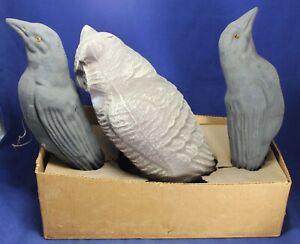 Owl & (2) Crow Paper Mache Hunting Decoy Set w/ Box - Vintage