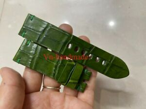 24mm/0mm Padded Green   Genuine ALLIGATOR, CROCODILE SKIN WATCH STRAP BAND