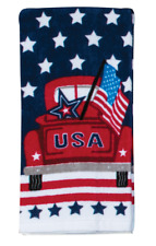 New listing Usa Truck with Flag, Stars Kitchen Patriotic Terry Towel
