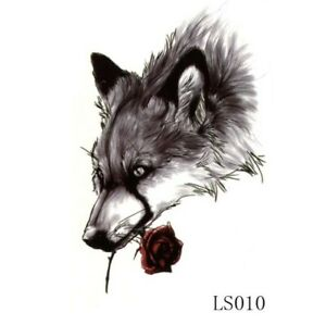 WOLF Temporary Tattoo 🇬🇧 Adult Mens Body Art Black Scetched Wolves Red Rose 🖤