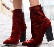 NWT ZARA $119 VELVET HIGH HEEL ANKLE BOOTS BRICK Size US9, EU40, UK7, 6136/101
