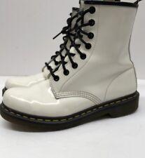 Doc Martens Air Wave White Patent Leather Black Lace Up Boots US Size 7 Ladies