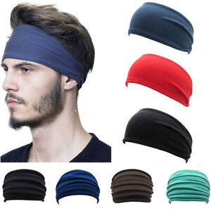 Solid Hairband Wide Headband Sweatband Stretch Sweat Men Elastic Sport Yoga Run