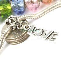 Silver Tone Love Dangle Large Hole Word Bead Slider for European Charm Bracelet