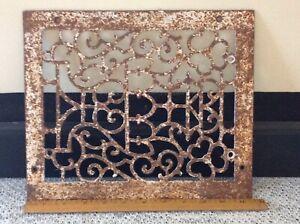 Antique Cast Iron Victorian Ornate Heat Grate Vent Floor Register Vintage