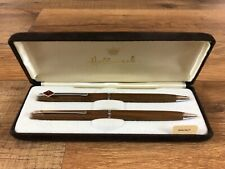 Vtg Hallmark Harrisburg Red Logo Walnut Wood Chrome Pen Pencil Set with Box