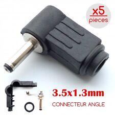 LOT x5 FICHES CONNECTEUR ALIMENTATION DC 3.5x1.3mm DIY PLUG A SOUDER COUDE ANGLE