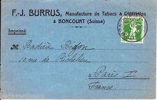 Carte lettre F.J BURRUS, Manufacture de tabacs et cigarettes à Boncourt (SUISSE)